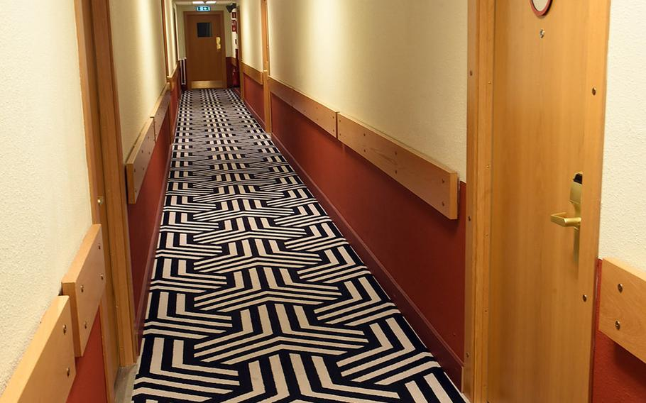 One of the hallways, with new carpet, at the Base Hotel and Hostel, which used to function as U.S. Navy barracks, in Keflavik, Iceland, Tuesday, August 15, 2018.