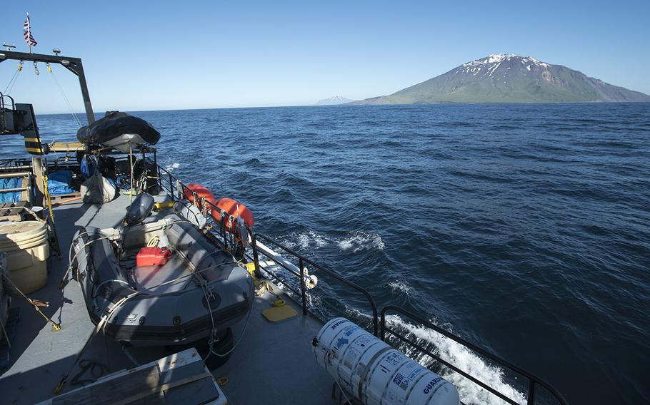 The Norseman II, a research vessel, makes its waythrough the Aleutian Islands, a chain of volcanic islands extending 1,200 miles westward from the Alaska Peninsula. Researchers aboard the vessel discovered the missing stern of the USS Abner Read, a destroyer ripped apart by a Japanese mine on Aug. 18, 1943.