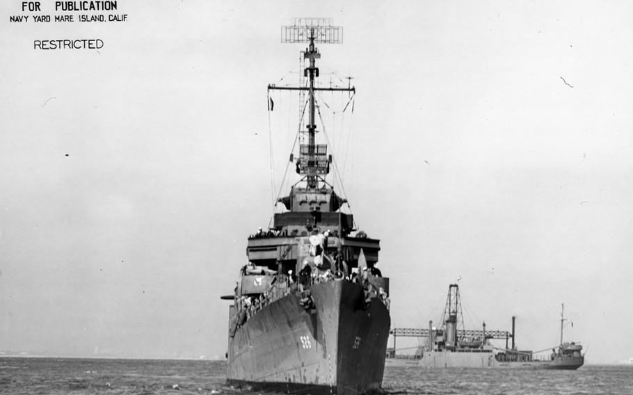 A view of the front of the USSAbner Read on June 13, 1943. The destroyer was ripped apart by a Japanese mine on Aug. 18, 1943, off the Aleutian Islands in Alaska. Researchers searching for WWII wreckagerecently discoveredthe Abner Read'smissing stern.