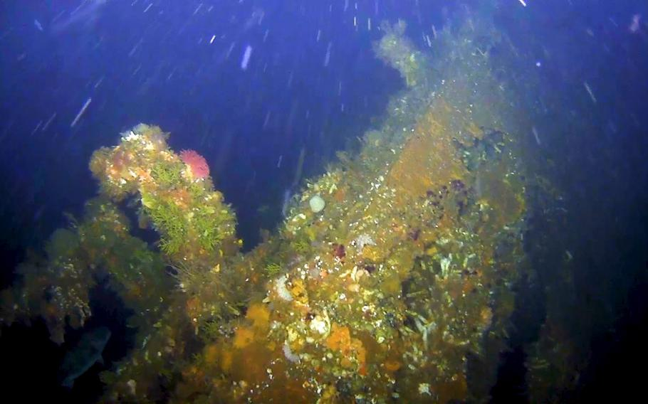 The underwater wreckage of the USS Abner Read discovered by researchers July 17 off the Aleutian Islands in Alaska.The destroyer was ripped apart by a Japanese mine on Aug. 18, 1943, and 71 sailors died. Of the men who died, 70 were lost at sea.