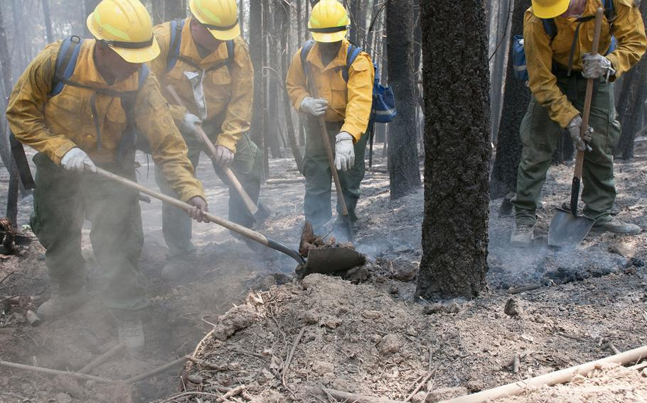 Soldiers assigned to 14th Brigade Engineer Battalion at Joint Base Lewis-McChord, Wash., dig out a hot spot, August 14, 2018, in Mendocino National Forest, Calif. The active-duty crew, supervised by two professional firefighter crew bosses, was tasked with cold trailing and mopping up hot spots in the black area of the Mendocino Complex Fire to support National Interagency Fire Center wildland fire fighting efforts.