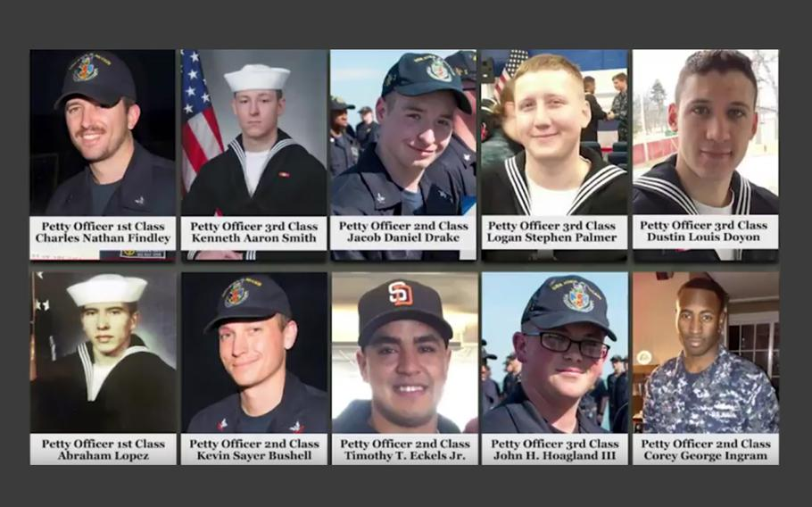 The sailors who were killed in the USS John S. McCain collision were remembered at a ceremony on Aug. 21, 2018.