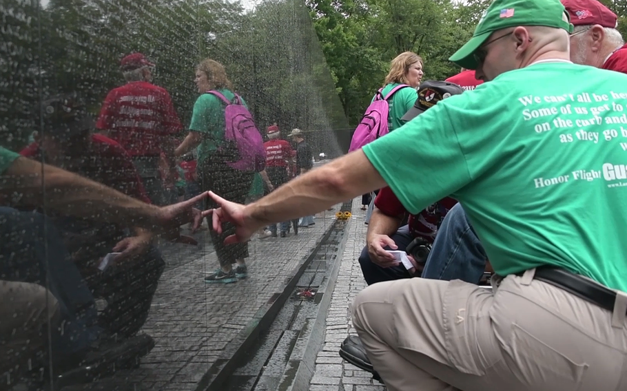 The Land of Lincoln Honor Flight from southern and central Illinois toured through Washington, D.C. on Tuesday, Aug. 21, 2018. The rain that drove away other visitors to the nation's capital had little effect on their desire to visit the monuments erected in their names.