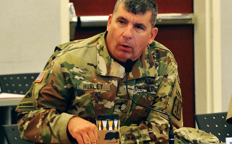 Maj. Gen. Paul C. Hurley Jr., CASCOM and Fort Lee commanding general, gives opening remarks during the Fort Lee Sexual Harassment/Assault Response and Prevention Summit on Sept. 28, 2017.