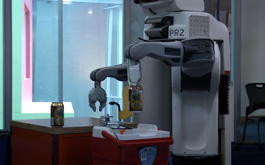 This screengrab from a MIT Computer Science & Artificial Intelligence Laboratory video shows a robotic bartender. Republican senators are proposing an amendment to a defense spending bill that would bar the Pentagon from spending any more money on research to produce such robots.