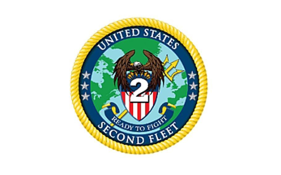 The official crest for the re-establishment of Commander, U.S. 2nd Fleet.