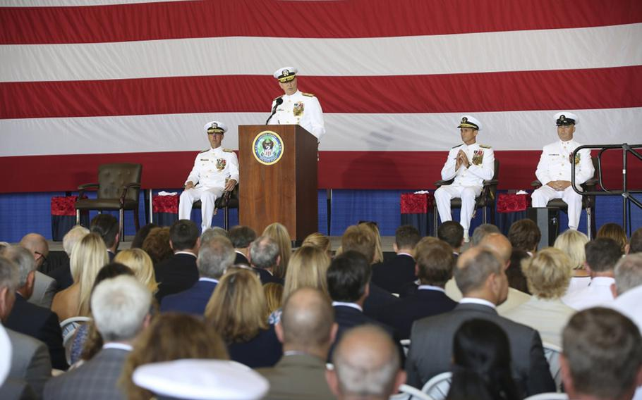 Commander, U.S. Fleet Forces Adm. Chris Grady addresses guest during the 2nd Fleet Establishment Ceremony aboard the nuclear aircraft carrier USS George H.W. Bush. U.S. 2nd Fleet will exercise operational and administrative authorities over assigned ships, aircraft and landing forces on the East Coast and North Atlantic.
