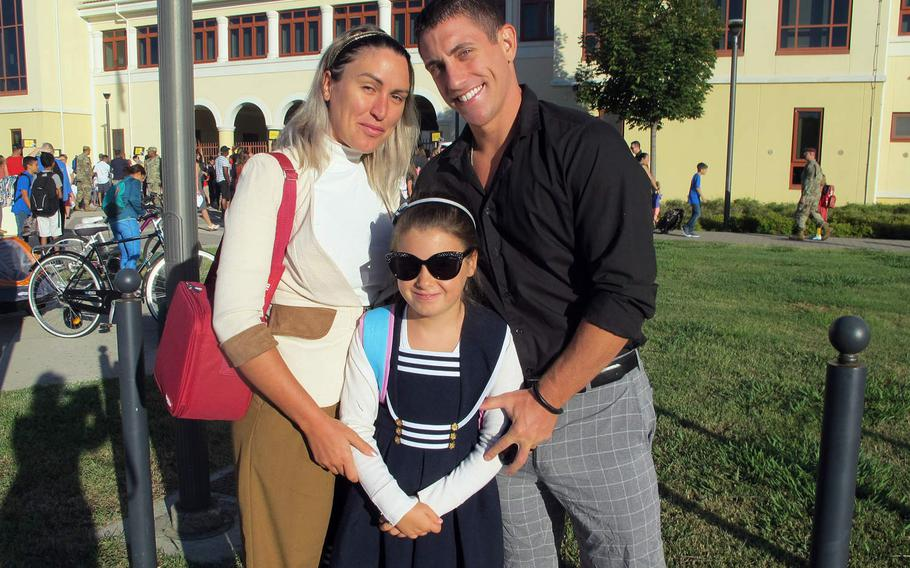 Spc. Jarred Mertz, his wife, Eleonora, and daughter, Sofia, were stylish on the first day of school - and the first day of American school for Sofia. Sofia, 7, was previously a student in Italian school, but her parents wanted to prepare her for an eventual move to the U.S.