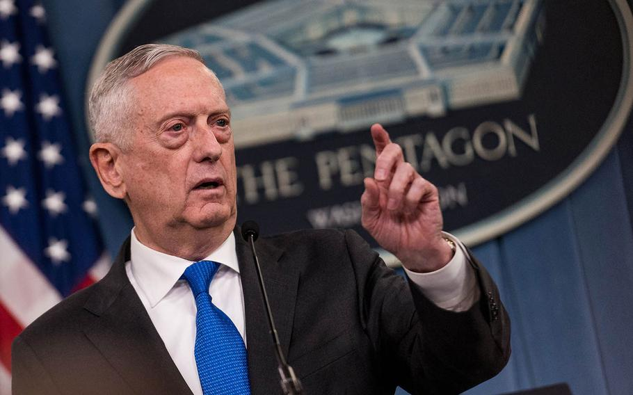 Defense Secretary Jim Mattis takes questions from reporters on Aug. 28, 2018 at the Pentagon.