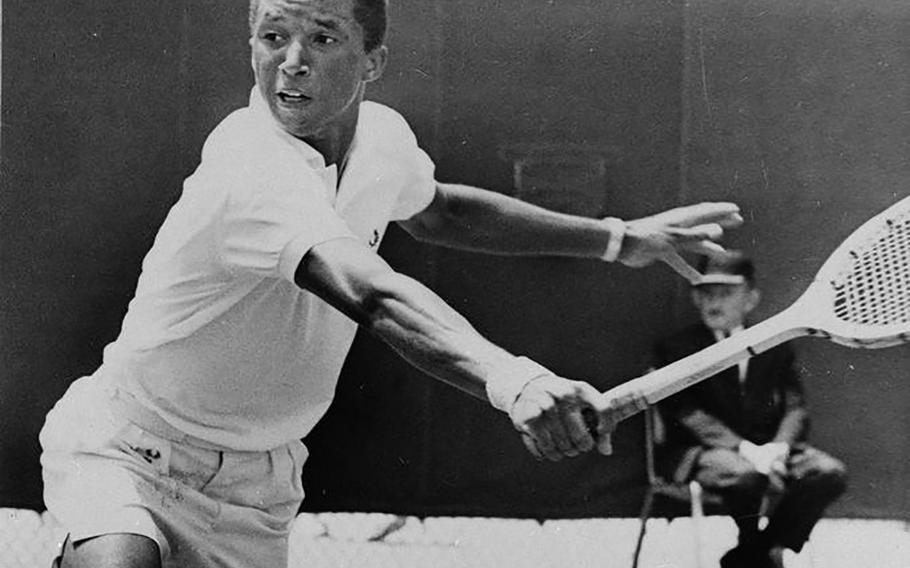 Arthur Ashe plays tennis at UCLA in 1965.