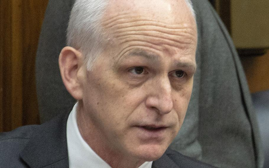 """Rep. Adam Smith, D-Wash., seen here at at a House Armed Services Committee hearing in March, 2018, says it is """"utterly irresponsible and appalling that President Trump wants to take away funding for military readiness and infrastructure in order to spend it on his border wall."""""""
