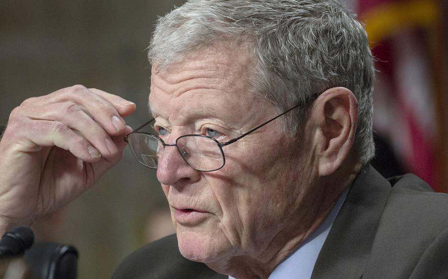 Sen. James Inhofe, R-Okla., at a Senate Armed Services Committee hearing in January, 2018.