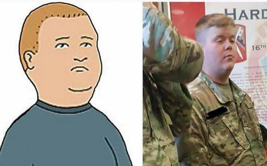 """Pvt. 1st Class Andrew Hartmann was the victim of  pranksters who made a meme of him in 2017. The meme, comparing his likeness to that of Bobby Hill from the show """"King of the Hill,"""" continues to be shared today."""