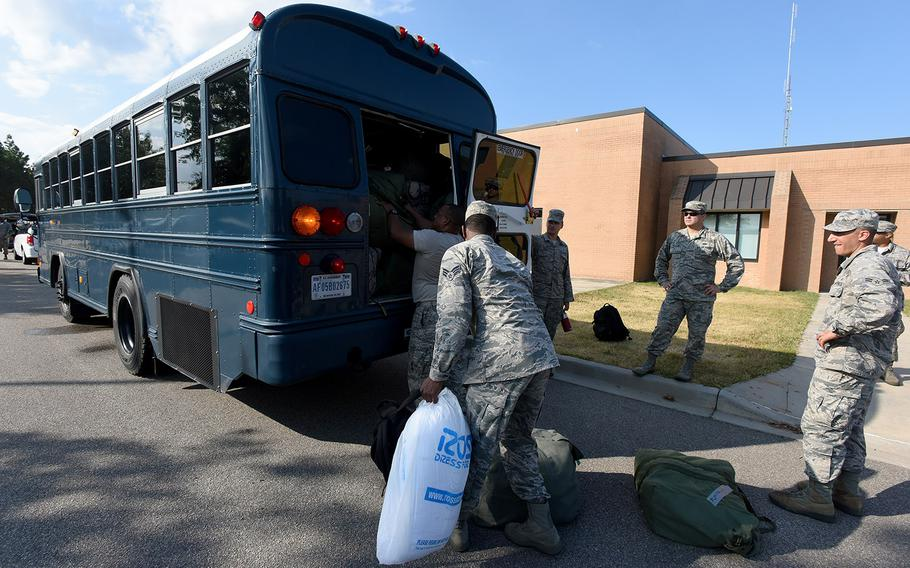 U.S. Airmen from the South Carolina Air National Guard and 169th Fighter Wing prepare to deploy from McEntire Joint National Guard Base to Bluffton, S.C. to support partnered civilian agencies and safeguard the citizens of the state in advance of Hurricane Florence, September 10, 2018.