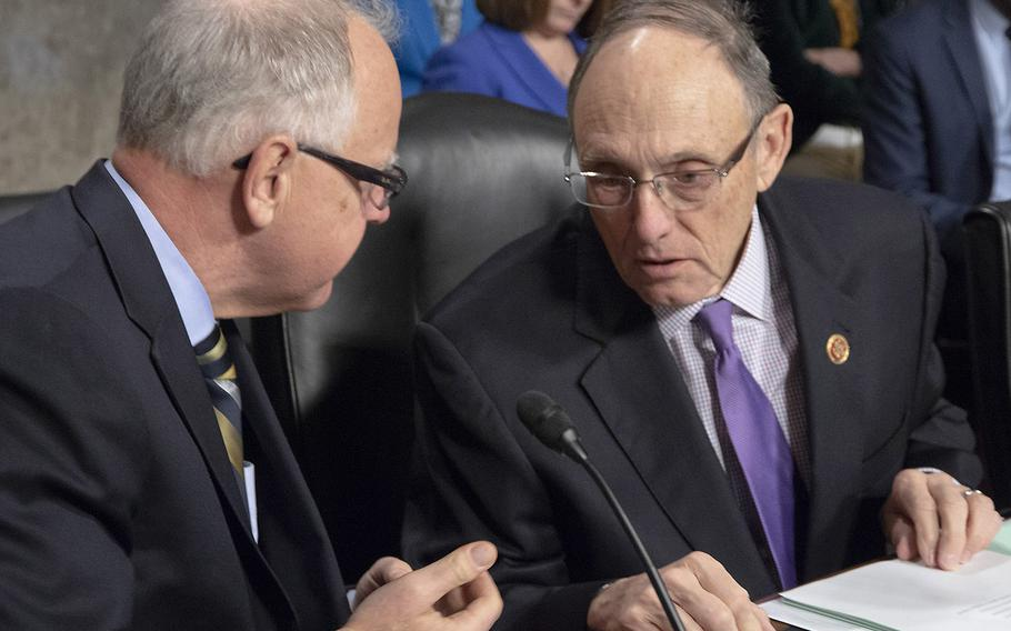 """House Committee on Veterans' Affairs Chairman Rep. Phil Roe, R-Tenn., right, says VA """"will receive the funding needed for implementation of the VA Mission Act while adhering to the existing and necessary caps on federal spending."""" Ranking Member Rep. Tim Walz, D-Minn., says """"By no means are we done with our work,"""" noting that the Mission Act """"still lacks a sustainable source of funding."""""""