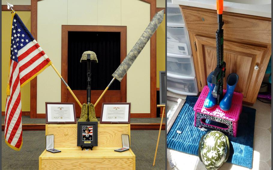 Left: A display for Sgt. Douglas Rainey, who died near Kabul, Afghanistan after an attack on Wednesday, Oct. 19, 2016, is pictured during his 2016 memorial. Right: A family photo shows a battlefield cross 4-year-old James Riney made in his bathroom to honor his late father.