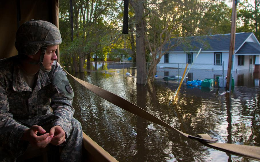 U. S. Army soldiers assigned to 129th Combat Support Sustainment Battalion, 101st Airborne Division (Air Assault), 101st Airborne Division Sustainment Brigade join ongoing joint operations in support of Hurricane Florence relief efforts at Lumberton, N.C., Sept. 17, 2018.