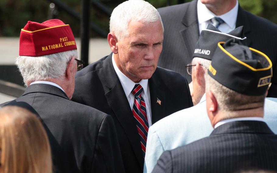 Vice President Mike Pence speaks to veterans in front of the Korean War Memorial in Washington, D.C., on Thursday, Sept. 20, 2018.