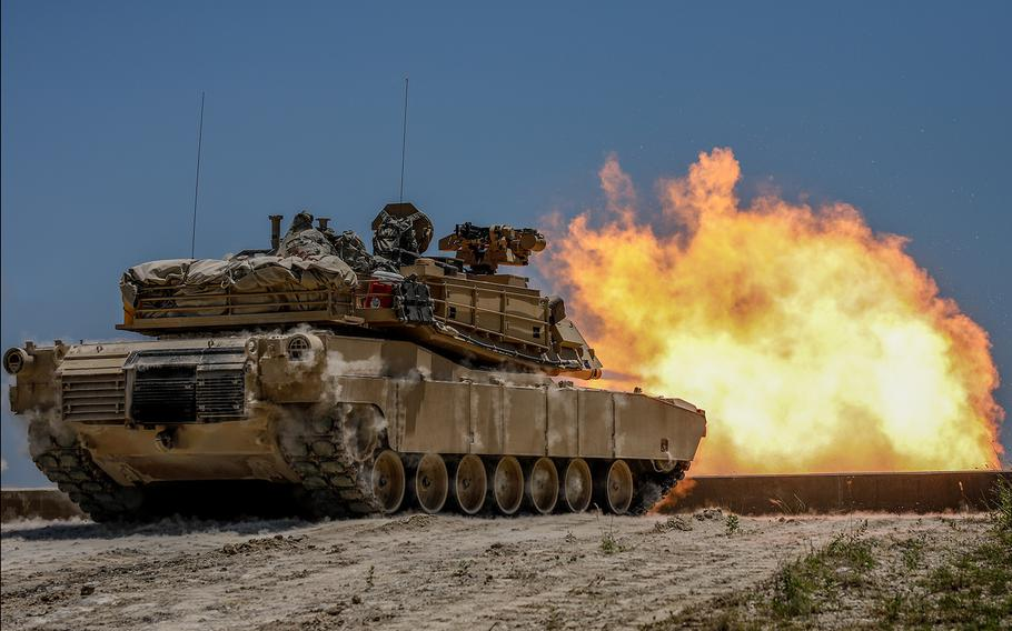 An M1 Abrams fires during a screening test at Fort Hood, Texas, on June 6, 2018.