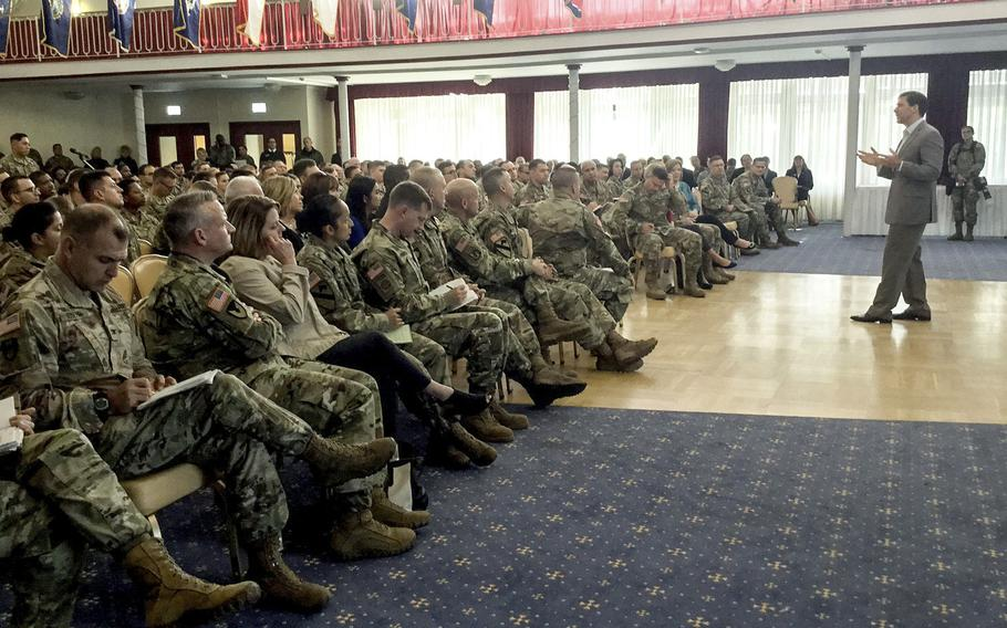 Mark T. Esper, Secretary of the Army, speaks to soldiers during a town hall meeting in Kaiserslautern, Germany, Monday, Sept. 24, 2018. During his visit, Esper observed training and got feedback from soldiers, civilians, families and retirees.