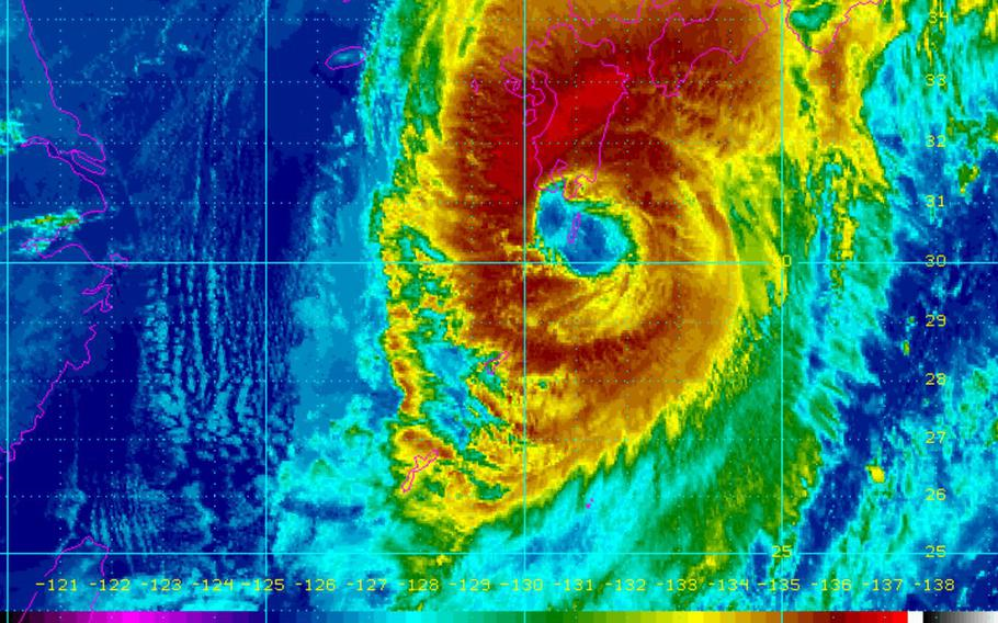 Trami is forecast to pass 176 miles southeast of Sasebo at 10 a.m. Sunday and 125 miles southeast of Marine Corps Air Station Iwakuni five hours later; MCAS Iwakuni remains in TCCOR Storm Watch.