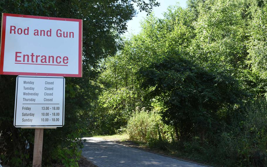 The entrance to the Kaiserslautern Rod and Gun Club heads up a slope into the forest off a side street outside of Vogelweh and Pulaski Barracks in Kaiserslautern, Germany, in August 2018.