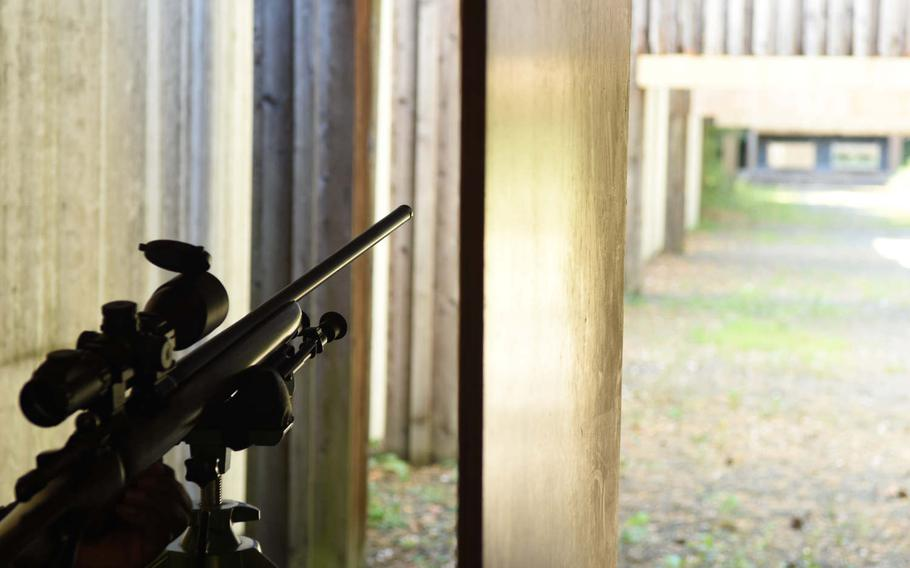 A rifle is mounted for target practice at the Kaiserslautern Rod and Gun Club's rifle range in Kaiserslautern, Germany, in August 2018.