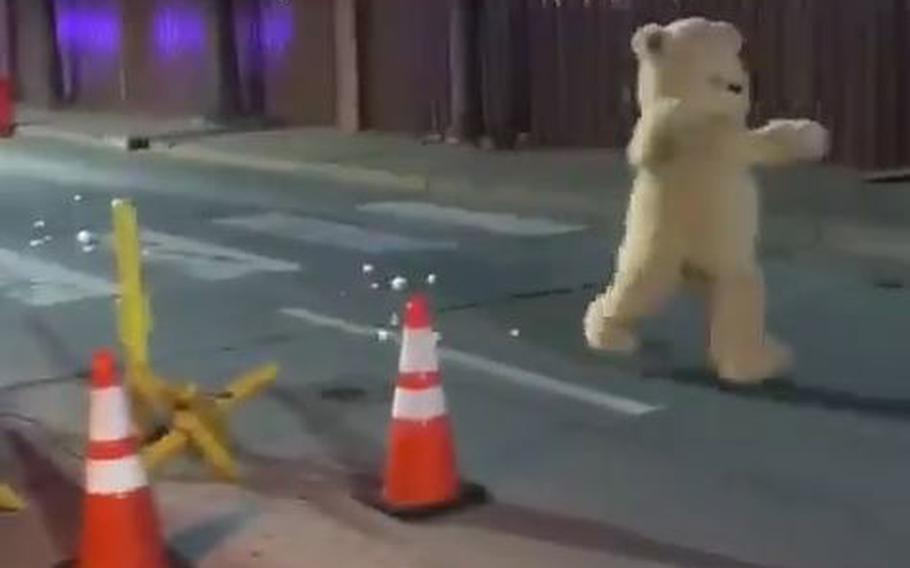 A giant teddy bear attempted to breach the gate at Sheppard Air Force Base as part of an exercise.