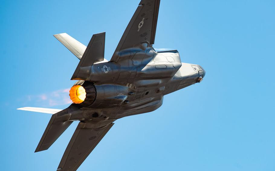 """Capt. Andrew """"Dojo"""" Olson, F-35 Heritage Flight Team pilot and commander, performs a tactical pitch maneuver in an F-35A Lightning II during the California Capital Airshow, Sept. 23, 2018, in Sacramento, Calif."""