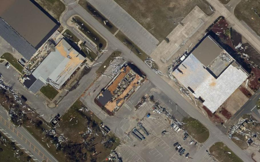 A roof damaged by Hurricane Michael is shown in this National Oceanic and Atmospheric Administration image.