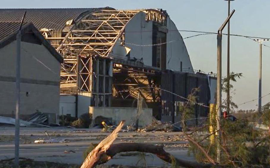 A video screen grab shows damage at Tyndall Air Force Base following Hurricane Michael.