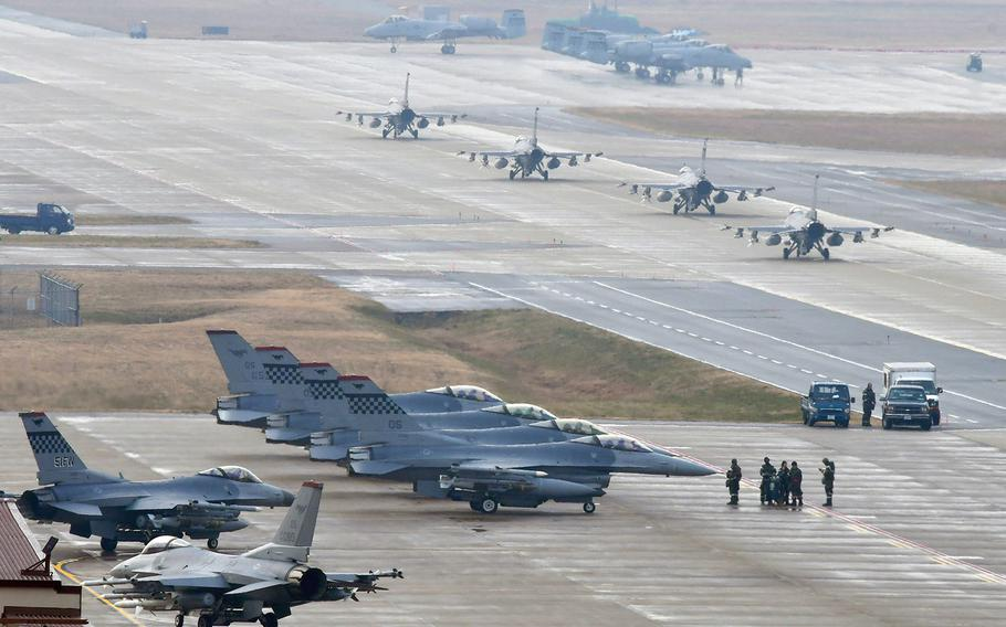 F-16 Fighting Falcon fighter aircraft take part in Exercise VIGILANT ACE 18 at Osan Air Base, Republic of Korea, on Dec. 3, 2017. U.S. and South Korean officials announced on Friday, Oct. 19, 2018, that the annual exercise has been canceled for 2018.