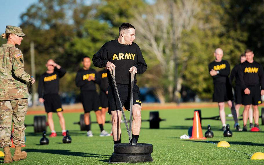 A soldier pulls a 90-pound sled during the sprint-drag-carry event, one of six parts of the Army Combat Fitness Test, during a demonstration Tuesday, Oct. 23, 2018 at Fort Eustis, Va.
