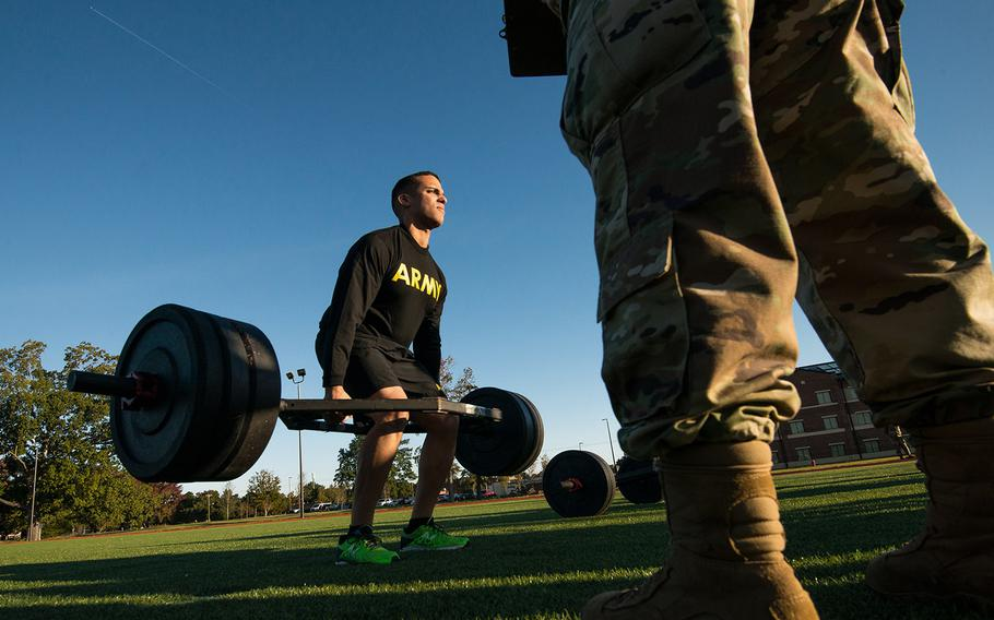 A soldier with the 128th Aviation Brigade at Fort Eustis, Va., attempts the deadlift during a demonstration Tuesday; Oct. 23; 2018; of the Army's new Army Combat Fitness Test; which is scheduled to be fully implemented across the service by October, 2020.