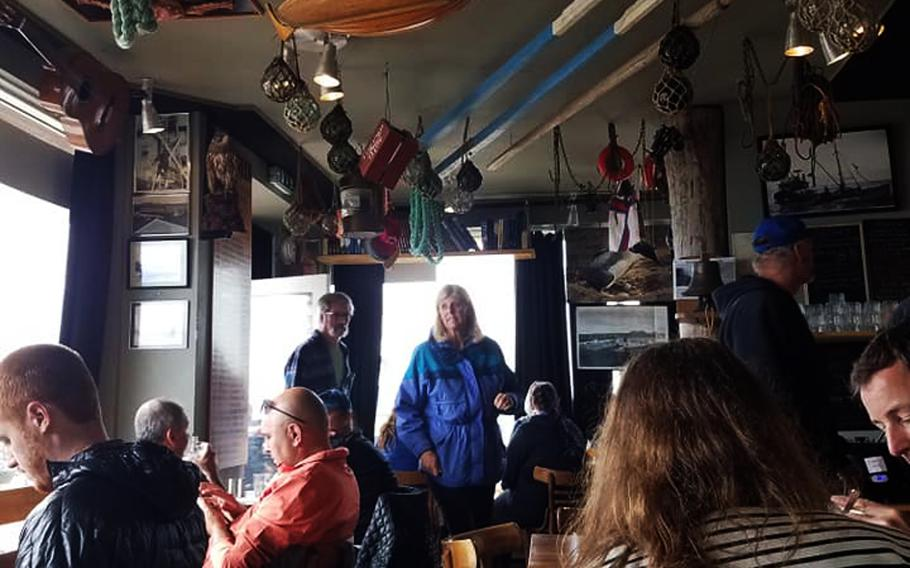 Inside a bar and restaurant along Iceland's coast, just outside of Reykjavik.