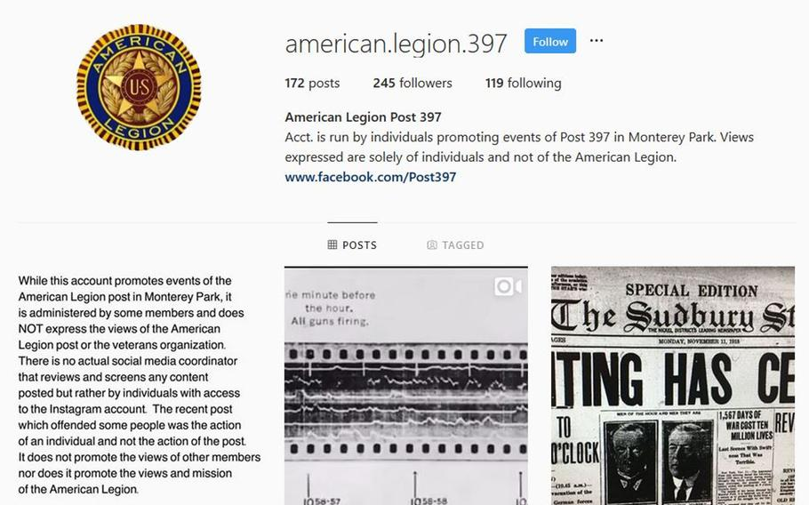 """American Legion Post 397 out of Monterey Park, Calif. put up a post saying that the post's Instagram account does not """"express the views of the American Legion Post or the veterans organization."""""""