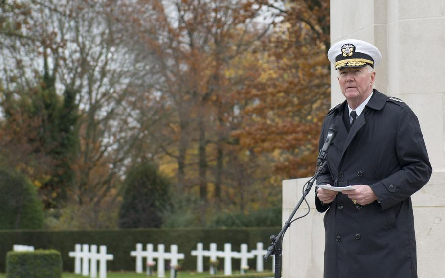 Adm. James Foggo, the Navy's top Europe and Africa commander, speaks at Flanders Field American Cemetery and Memorial in Waregem, Belgium, Nov. 11, 2018.