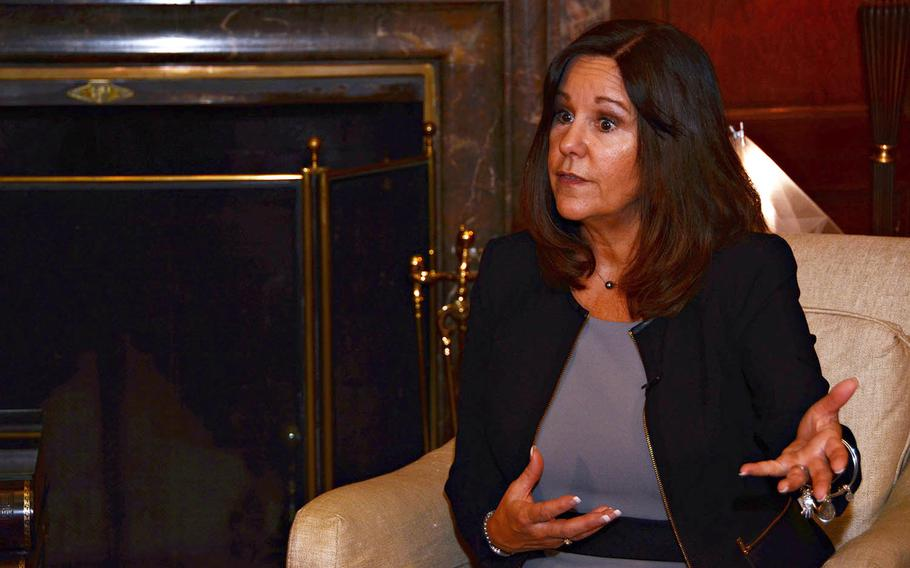 Karen Pence, wife of Vice President Mike Pence, speaks about the challenges faced by military spouses at the home of U.S. Ambassador to Japan William Hagerty, Tuesday, Nov. 13, 2018.