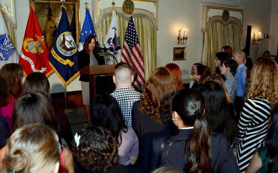 Karen Pence, wife of Vice President Mike Pence, speaks to U.S. military spouses at the home of U.S. Ambassador to Japan William Hagerty, Tuesday, Nov. 13, 2018.