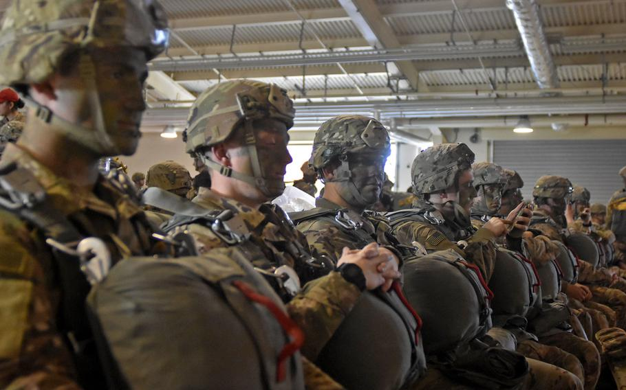 """Soldiers from the 173rd Airborne Brigade enter the """"wait"""" portion of """"hurry up and wait"""" while in the personnel alert holding area at Aviano Air Base, Italy on Wednesday, Nov. 14, 2018."""