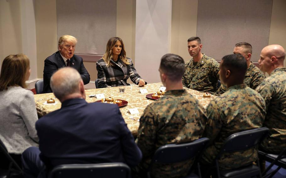 President Donald Trump and First Lady Melania Trump visited the Marine barracks at 8th and I in southeast Washington, D.C., followed by an event at the White House for veterans and military families.