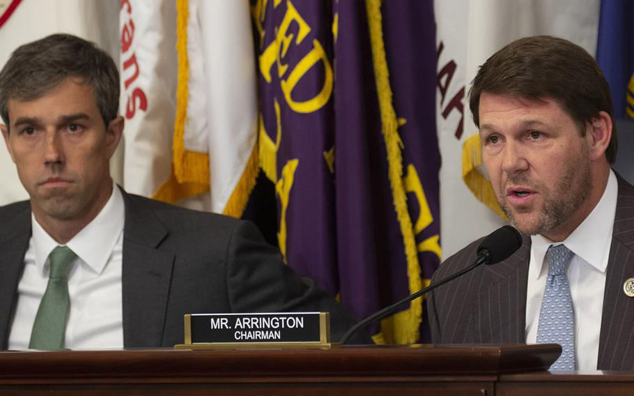 House Veterans' Affairs Economic Opportunity subcommittee Chairman Rep. Jodey Arrington, R-Texas, makes his opening statement at a hearing on delays in GI Bill payments, Nov. 15, 2018 on Capitol Hill. At left is Ranking Member Rep. Beto O'Rourke, D-Texas.
