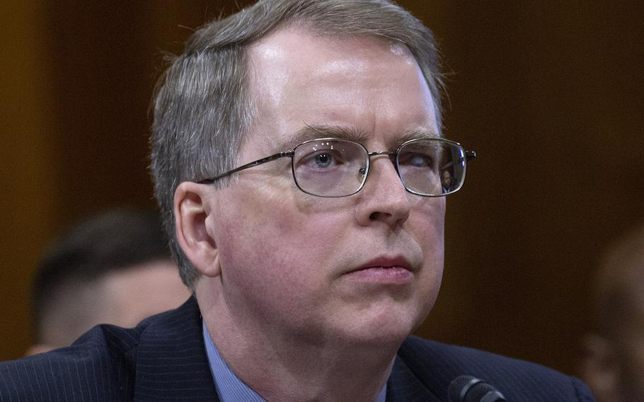 """DOD Comptroller David Norquist, shown here at a Senate hearing in March, 2018, noted that """"Fifty-five percent of the department's assets and liabilities were under audit for the very first time this year."""""""