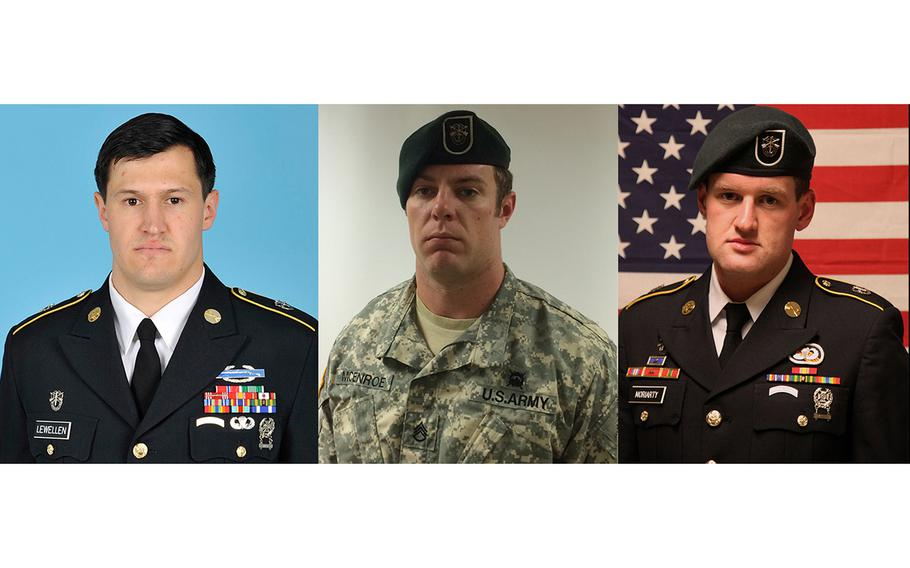 From left to right: Staff Sgt. Matthew C. Lewellen, 27; Staff Sgt. Kevin J. McEnroe, 30; and Staff Sgt. James F. Moriarty, 27. The Green Berets were killed by a member of the Jordanian Air Force as they entered a base in Jordan on Nov. 4, 2016.