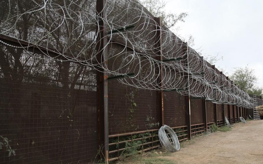 Concertina wire is displayed in areas of the border to show how the Soldiers from 937th Route Clearance Company, 36th Engineer Brigade, are assisting the Custom Border Protection in Lukeville, Arizona, November 14, 2018.