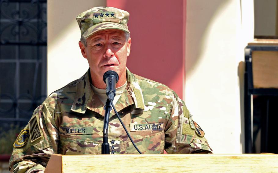 U.S. Army Gen. Scott Miller takes command during the Resolute Support mission change of command ceremony in Kabul, Afghanistan, September 2, 2018. Miller was meeting with high-level officials to discuss the security situation in central Ghazni province today when two missiles were fired on the city, police said. Miller was not injured.