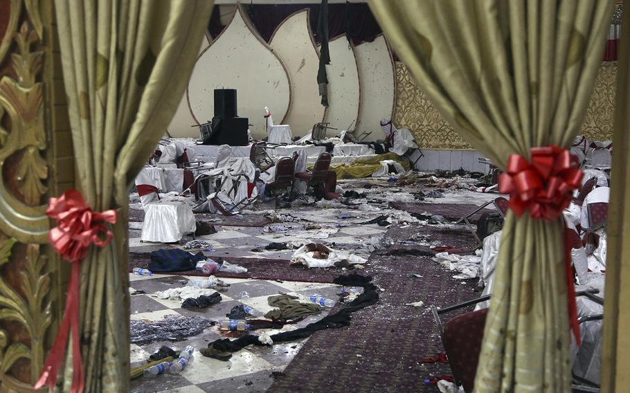 The inside of the wedding hall in Kabul, Afghanistan, is seen Wednesday, Nov. 21, 2018, a day after a suicide attack.