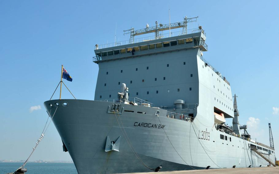 British Royal Fleet Auxiliary ship RFA Cardigan Bay sits pierside at U.K. Naval Support Facility Bahrain on Nov. 26, 2018.