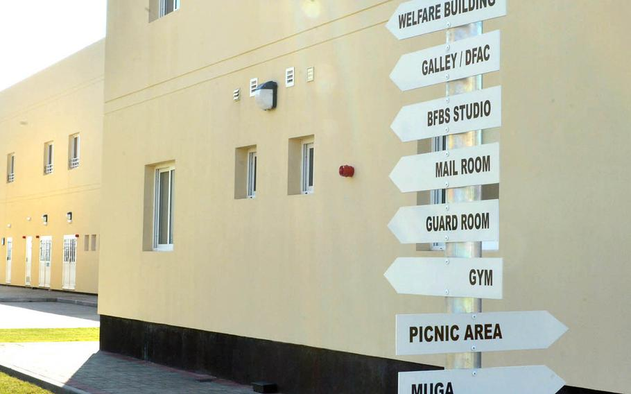 Signs provide directions at the U.K. Naval Support Facility Bahrain.