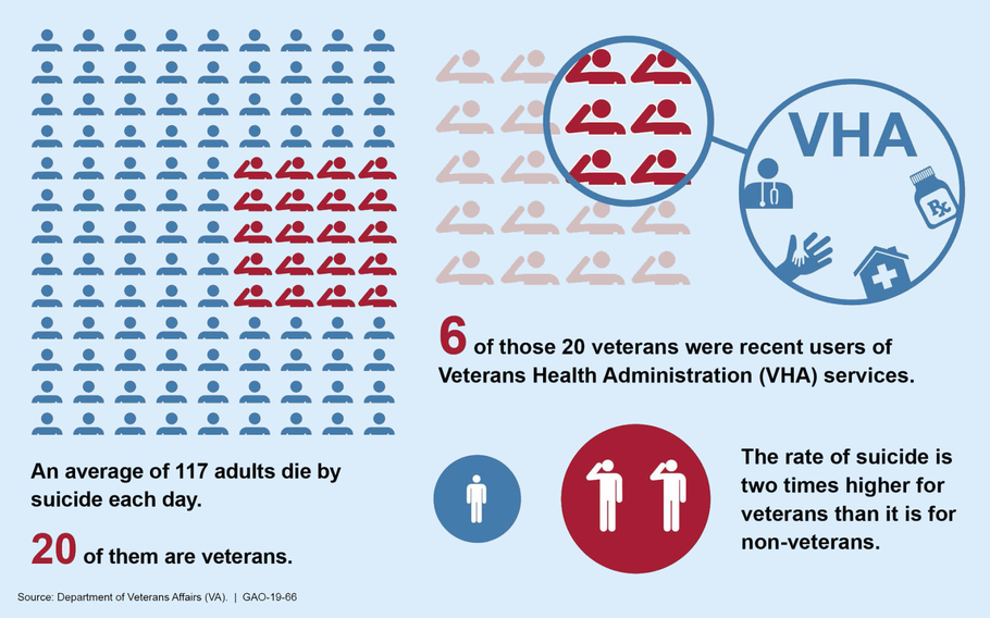 The Government Accountability Office reported Monday, Dec. 17, 2018, that the Department of Veterans Affairs spent only $1.5 million on suicide prevention programs. The department was alloted $6.2 million for such programs.
